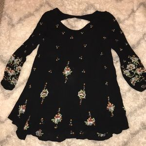 Free People Black Floral Embroidered Dress